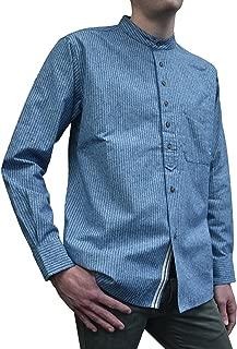 Lee Valley - Men's Vintage Irish Cotton Grandfather Shirt - Blue/White Stripe VR25