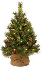 National Tree Company Pre-lit Artificial Mini Christmas Tree | Includes Small LED Lights and Cloth Bag Base | Pine Cone Bu...