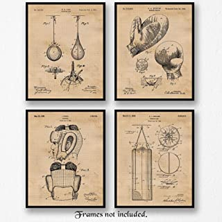 Original Boxing Patent Art Poster Prints, Set of 4 (8x10) Unframed Photos, Great Wall Art Decor Gifts Under 20 for Home, Office, Man Cave, Shop, Gym, Student, Teacher, Coach, Trainer, Boxing & MMA Fan