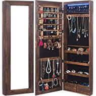 RHF Solid Wood Rustic Jewelry Organizer Lockable Jewelry Armoires Large Jewelry Cabinet with...