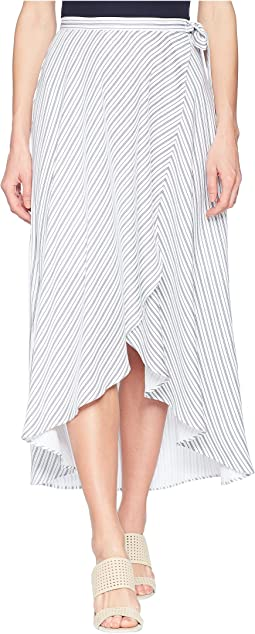 "37"" Woven Crepe Long Wrap Skirt in White"
