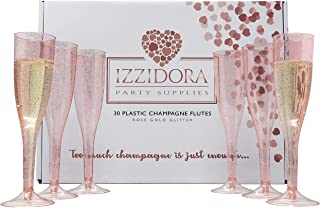 30 Premium ROSE GOLD Glitter Plastic Champagne Flutes 6.5 oz Tall Elegant Wedding Party Toasting Glasses +Bonus Bubbly Bar Sign - Clear Glass like Classicware cups Soda Mimosas Wine Cocktail parties