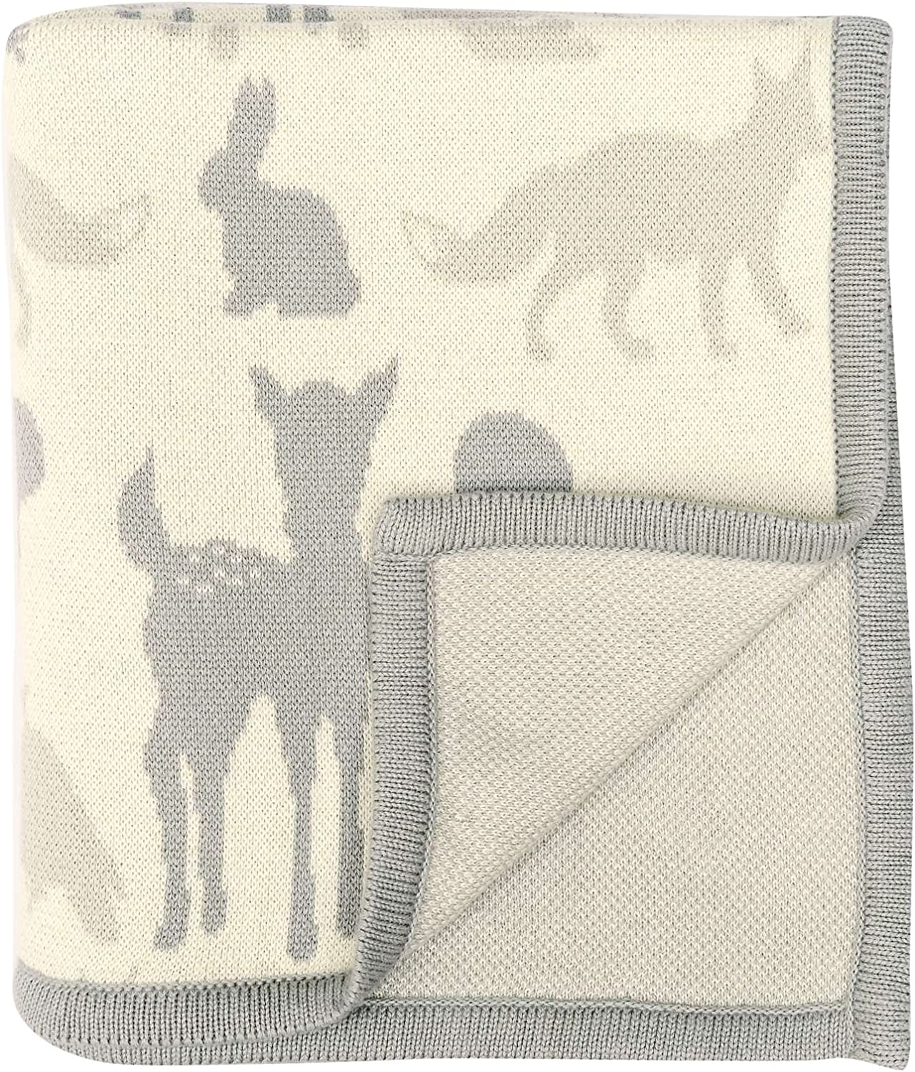 DARZZI Woodland Animals Baby Blanket, Grey Combo, 35 x45