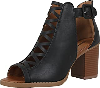 SODA Women's Criss Cross Open Toe Cut Out Side Buckle Stacked Heel Ankle Boot
