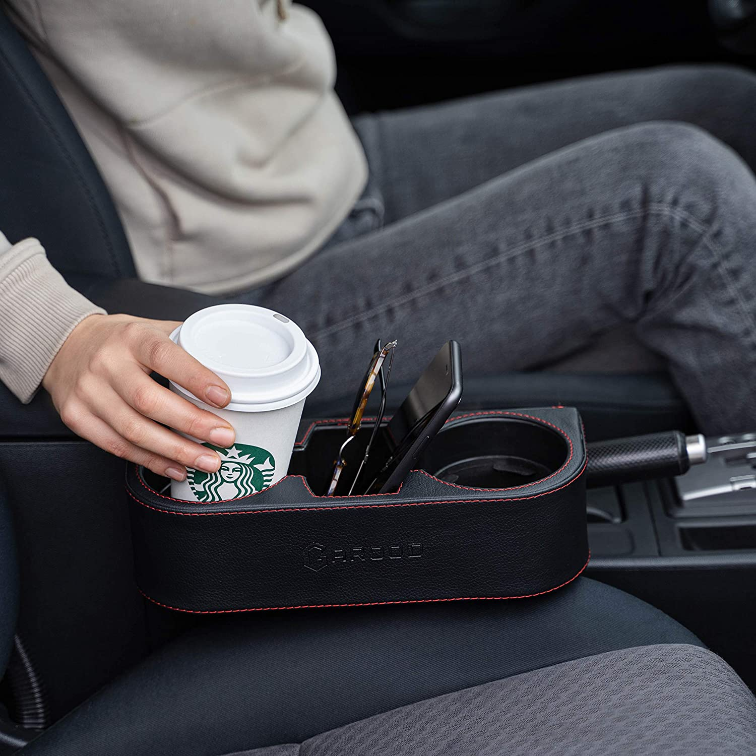 1 Cup stabilizer Back Seat and Couch Cupholder StorageBox Free Cup STABILIZER Multifunctional Leather Expander for Drink Phone Mount Coasters Garood Car Cup Holder Front Seat Gap Filler Organizer