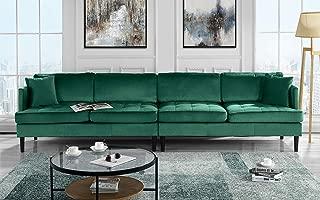 Mid Century Modern Extra Large Velvet Sofa, Living Room Couch (Green)