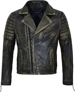 Smart Range Johnny Men's Brando Slim Fit Double Zip Black Rust Beige Biker Racing Leather Jacket 5333