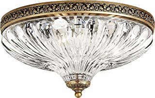 Schonbek 5631-23 Swarovski Lighting Milano Flush Mount Lightening Fixture, Etruscan Gold