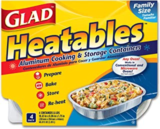 Glad Heatables with Lids, Reusable Aluminum Cooking & Storage Containers, Conventional & Microwave Oven Safe, Dishwasher Safe, Large, Pack of 4