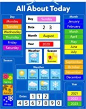 All About Today Children's educational magnetic calendar board kids classroom chart 32 x 40cm with hanging blue loop 'my f...