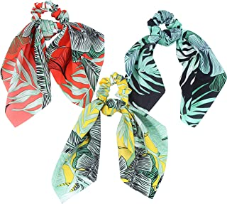 Hair Scarf Silk Scrunchies Ponytail - (3 Pack) SUMMER VIBES Leaf Details Unique Hair Ties Designs to match Different Outfits – Satin Silk Hair Bands for Women Teen Tween Hair Scarves Tie