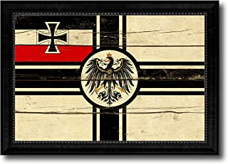 Imperial German Navy 1867-1871 War Military Vintage Flag Canvas Print Home Decor Wall Art Gifts Signs Cards, Black Frame, 15