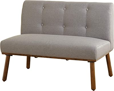 """The Mezzanine Shoppe Playmate Upholstered Tufted Armless Loveseat, 40.5"""", Gray"""