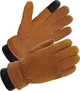 SKYDEER Windproof Winter Gloves, Thermal Ski Glove with Full Deerskin Suede Leather and C100g 3M Thinsulate Insulation