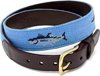 Needlepoint Belts for Men Handmade w/Cotton on Full Grain Leather Backing & Solid Brass Buckle