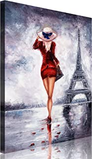 TutuBeer Large Size 1 Piece Elegant Lady in Red Dress Walk in the Eiffel Tower Figurative Print on Canvas with Stretched Frame Women the Picture on Canvas 1-Piece Set Wall Art for Home Decor,30x40inch