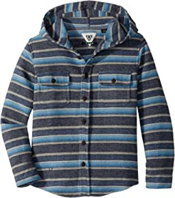 VISSLA Kids - Pumphouse Flannel Long Sleeve Hooded Woven Top (Big Kids)