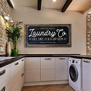 Eyrrme Laundry Co Panneau en bois peint pour buanderie Inscription en anglais « Même jour service wash dry fold and Repeat...