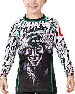 Fusion Fight Gear Batman The Killing Joke kids Rash Guard Compression Shirt (Large)