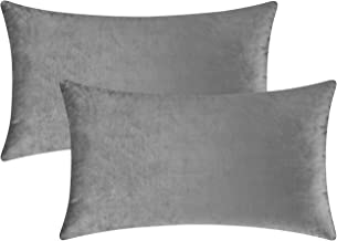 Mixhug Set of 2 Cozy Velvet Rectangle Decorative Throw Pillow Covers for Couch and Bed, Grey, 12 x 20 Inches