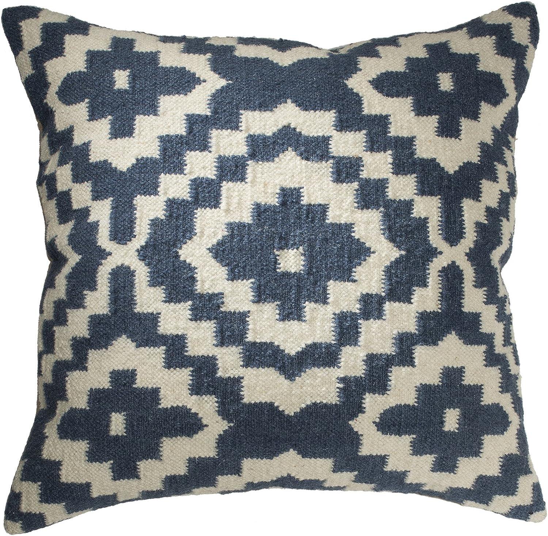 Fair-Trade-Kelim-Kissenbezüge, handgefertigt auf Handwebstühlen aus 80 % Wolle und und und 20 % Baumwolle und natürlichen Farbstoffen, indigoblau, Textil, blau, 60 x 60 B00W4LNRQW 197a9a