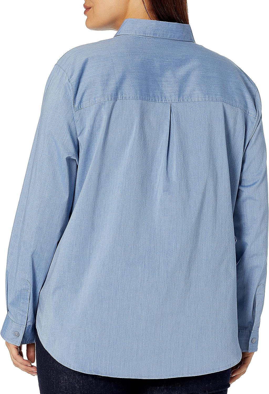 Dickies Women's Size Long Sleeve Stretch Poplin Work Shirt-Plus