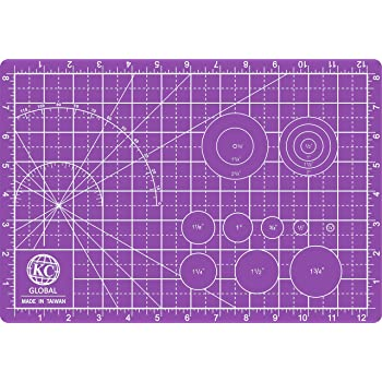 "KC GLOBAL A4 (13""x9"") Professional Grade Self-Healing Cutting Mat (Purple) - Odor-Free, Double-Sided, Eco-Friendly, Non-Slip, Premium Desk mat for DIY, Crafting, Model Building and Art Projects"