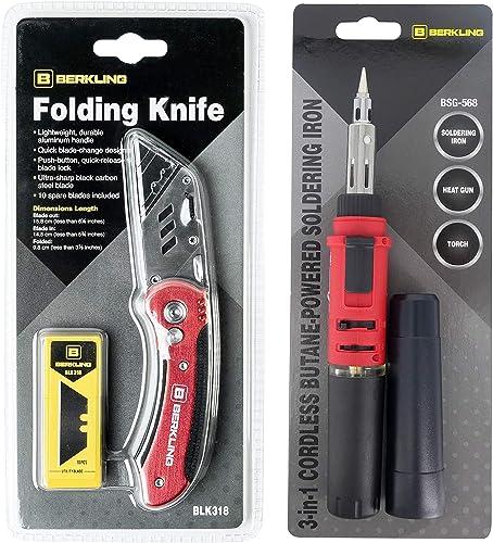 popular Berkling sale outlet online sale Butane Soldering Iron and Utility/Pocket Knife Bundle, BSG-568 and BLK318 Is A Great Gift Set For Holidays online