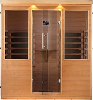 Canadian Spa Company Whistler 4-Person FIR Sauna with 12 Carbon Infrared Heaters, Bluetooth and LED Chromotherapy Lighting