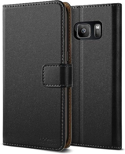 HOOMIL Cuir Premium Coque pour Samsung S7, Coque pour Galaxy S7, Portefeuille Etui Housse pour Samsung Galaxy S7, (Noir)