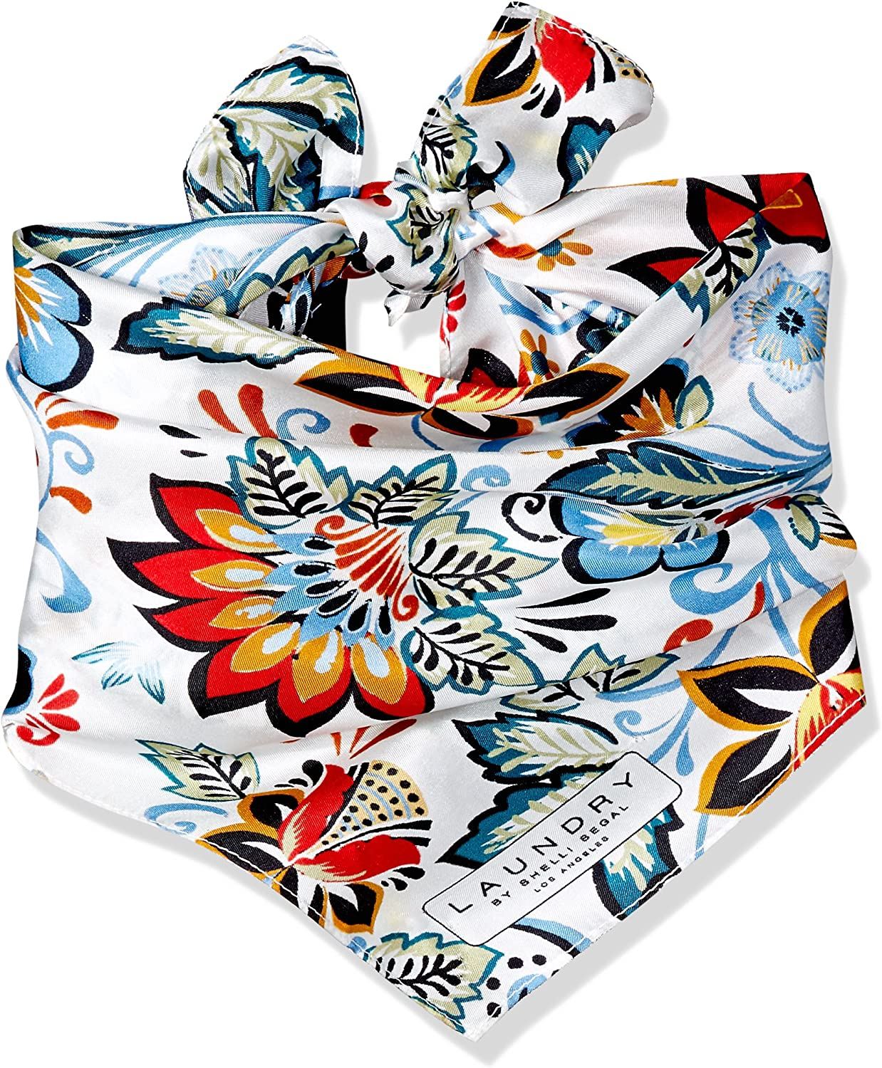 LAUNDRY BY SHELLI SEGAL Women's Boho Floral Silk Square Scarf, Optic White, One Size