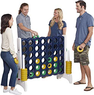 ECR4Kids Jumbo 4-to-Score Giant Game Set - Oversized 4-in-A-Row Fun for Kids, Adults and Families - Indoors/Outdoor Yard Play - 4 Feet Tall - Blue and Gold