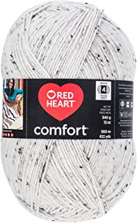 RED HEART E707D.5100Red Heart Comfort Flecks Yarn Red Heart, Cream Fleck