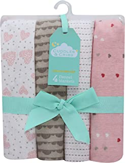 Cuddles & Cribs Cotton Hearts Flannel Receiving Blankets 30 X 30-4 Count