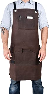 E-Gtong Waxed Canvas Work Apron Woodworking Apron Adjustable M to XXL for Men /& Women Brown Waterproof Heavy Duty Shop Apron with Tool Pockets Padded Shoulder and Qick Release Buckle