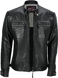 Chaqueta de piel auténtica estilo motero vintage y con cremallera para hombre de la marca Xposed, color negro