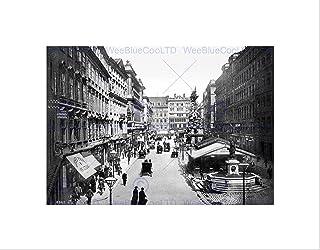 Wee Blue Coo THE GRABEN VIENNA AUSTRIA HUNGARY 1895 OLD BW BLACK FRAMED ART PRINT B12X2689