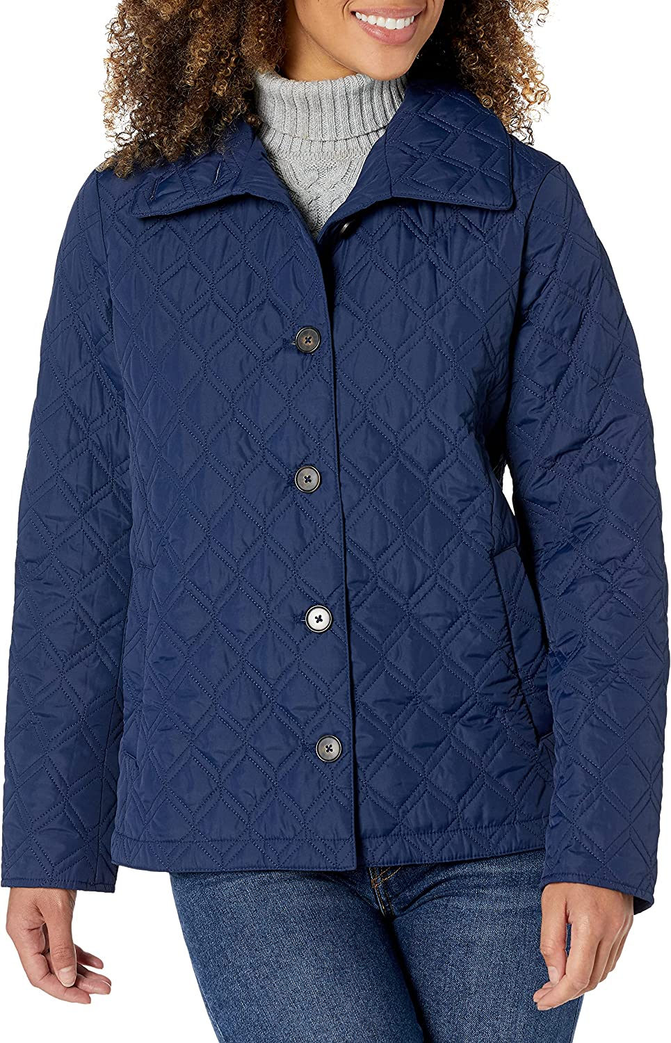 Jones overseas New York Women's Jacket Quilted Midweight Shipping Free Hooded