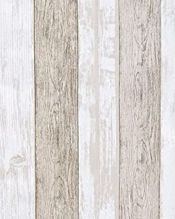 """16.4'x17.8"""" Wood Peel and Stick Wallpaper Self Adhesive Removable Wallpaper Stripes White Gray Wood Grain Shelf Paper Faux Distressed Wood Wall Covering Vinyl Stick on Wall Panel Stripes"""