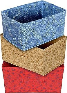 Kuber Industries Laheriya Metallic Print Rectangular Non Woven Fabric Modular Closet Organizer Box with Handle (Blue & Red...