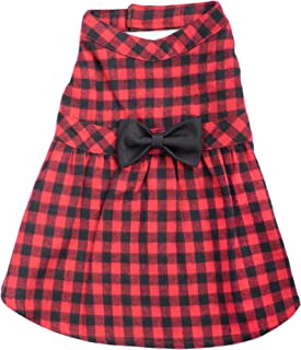 The Worhty Dog Buffalo Plaid Pattern Fabulously Stylish Bow Attached Skirt Dress for Dog, Casual Warm Winter Dog Outfit - Fits Small, Medium and Large Dogs, Red/Black Color