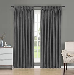 Brielle Fortune Faux Dupioni Silk Lined Insulated Room Darkeninng Back Tab/Pinch Pleat Panel, 29 by 95