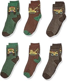 Country Kids Boy's Dump Truck Excavator Backhoe Striped Cotton Socks, Pack of 6 Socks (pack of 6)