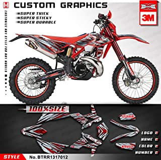 Kungfu Graphics Custom Decal Kit for Beta 250 300 350 390 430 480 RR 2014 2015 2016 2017, Red Silver,BTRR13170012