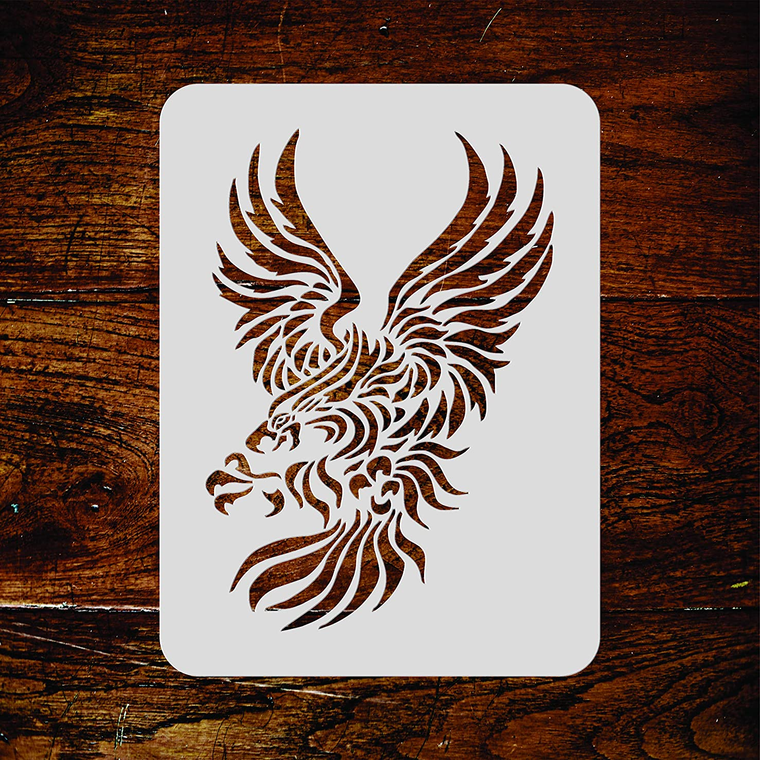 Eagle Stencil - 6.5 x 10 inch (M) - Reusable Stylized Bird Animal Wildlife Wall Stencil Template - Use on Paper Projects Scrapbook Journal Walls Floors Fabric Furniture Glass Wood etc.