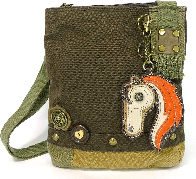 Chala Handbag Patch Crossbody HORSE Bag Canvas Dark Brown
