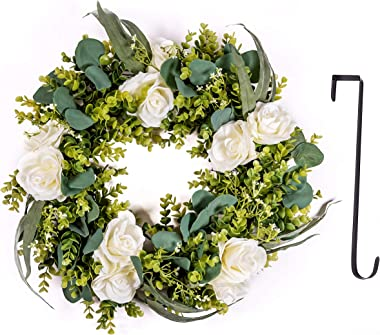 """Ecoleafsy Artificial Eucalyptus 20 inch Summer Wreath Front Door Year Round Farmhouse Grapevine Base, Green Silk Leaves, White Silk Roses, Baby's-Breath -Indoor Outdoor, 15"""" Metal Hook Wall Window"""