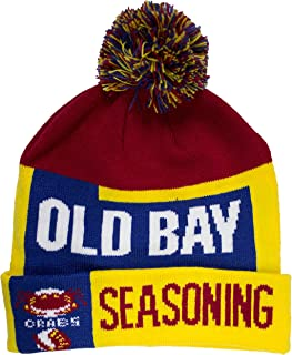 Men's Old Bay Seafood Seasoning Can Pom Beanie Hat Cap