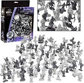 SCS Direct Fantasy Creatures Action Figure Playset - 98pc Monster Battle Toy Collection (Includes Dragons, Wizards, Orcs, ...