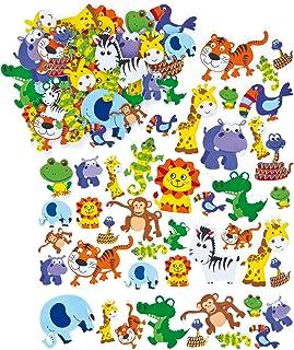 Baker Ross EV3115 Jungle Animal Foam Stickers (Pack of 96) Self Adhesive Puffy Scrapbook Stickers